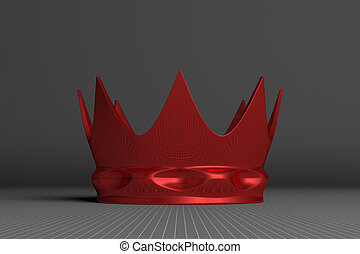 Red crown on gray
