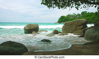 Tropical sea shore Rocks and sand without people - Video...