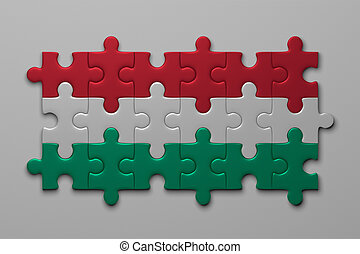 Hungarian flag of puzzle pieces - Hungarian flag assembled...