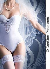 Young sexy bride in erotic lingerie over blue - Perfect...
