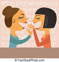 Gossiping Women, illustration in vector format