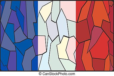French Stained Glass Window - A French flag design on a...