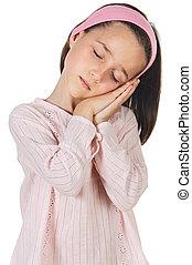 sleeping lovely girl a over white background