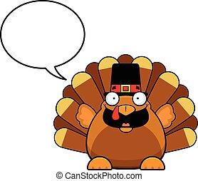 Cartoon Turkey With Speech Bubble - Cartoon illustration of...
