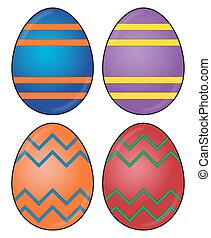 Easter Egg Designs - A selection of differently decorated...