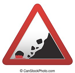 Falling Rocks Bloody Road sign - A triangular rocks falling...