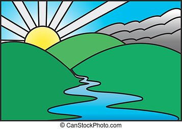 Sunny Morning Stained Glass Window - A sunrise over a...