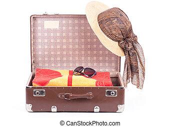 ouvert, vendange, valise, à, habillement,