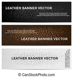 Web Banners with Leather Texture Different Colored
