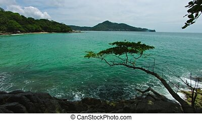 View of the tropical sea bay from the cliff - Video FullHD...