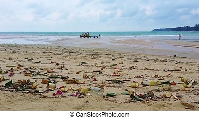 Polluted Tropical Beach in Thailand - Video 1920x1080 -...