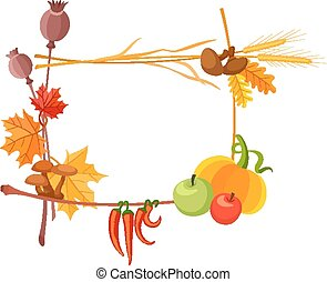 Autumn harvest frame for thanksgiving day