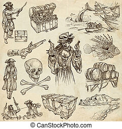 pirates - old paper set no6 - Pirates, Buccaneers and...