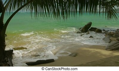 Wild beach without people. Thailand, Phuket Island - Video...