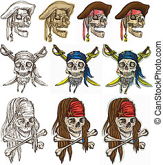 Pirates - Pirate skulls collection, hand drawings - An hand...