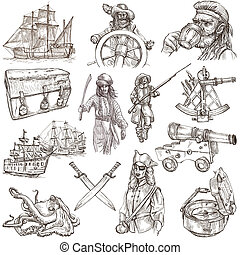 pirates - white set no.3 - Pirates, Buccaneers and Sailors -...