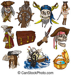 Pirates - colored full sized hand drawn illustrations no1 -...