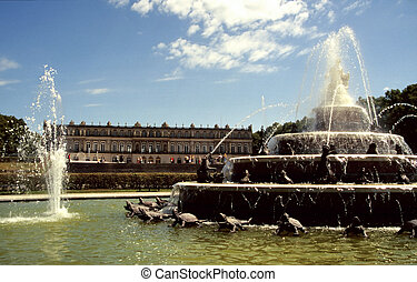 Fountain of the Palace of Herrenchiemsee in Bavaria, Germany...