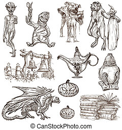 Halloween, Monsters, Magic - An hand drawn collection -...
