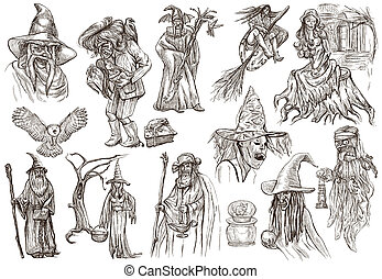 Halloween, Wizard and Witches - An hand drawn vector pack -...