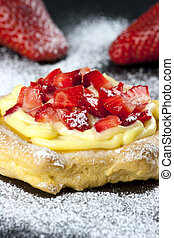 Zeppole with strawberry- tipical italian pastry - Italian...