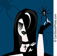 gothic girl - abstract gothic womans head and hands with a...