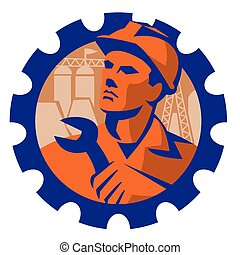construction worker mechanic spanner retro - vector...