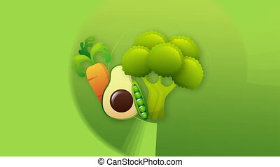Vegetables Video animation - Carrot, avocado, brocolli...