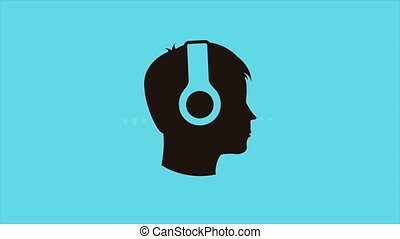 Listening to Music, Video animation - Person Listening to...