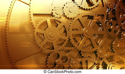 Golden Gears Rotating Looped - Golden Gears Rotating in...