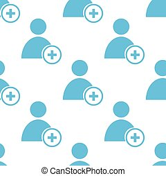 Add user seamless pattern - Add user white and blue seamless...