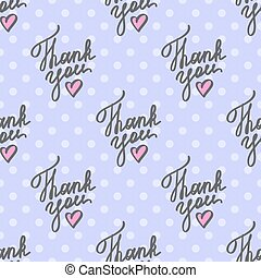 thank you, vector handwritten text with heart, seamless...