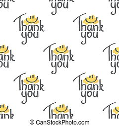 thank you, vector handwritten text with smile, seamless...