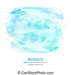 watercolor - vector abstraction of blue watercolor stain on...