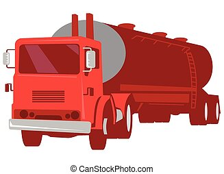 Tanker Cement Truck Retro - vector illustration of a cement...