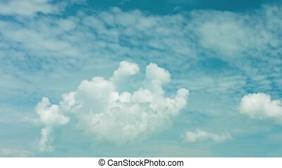 Fat Fluffy Cumulus Cloud Drifting Lazily - FullHD video -...