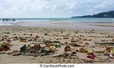 Dirty, Polluted Beach with Trash in Thailand