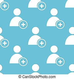 Add user seamless pattern - Add user blue with white...