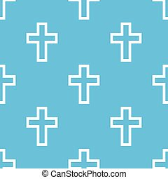 Protestant Cross seamless pattern - Protestant Cross blue...