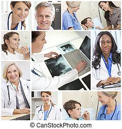 fotomontaggio, medico, uomini, pazienti, dottori, ospedale, Donne