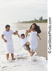 Mother Father Parents Boy Child Family Beach Fun - A happy...