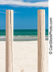 Wooden beams - Solid Wooden beams against the blue sky