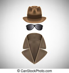 Private Eye Hat, Glasses and Raincoat. Vector Illustration.