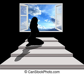 Young woman looking out from the window with hope - Young...