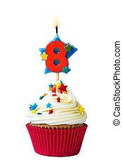 Number eight cupcake - Cupcake with number eight candle