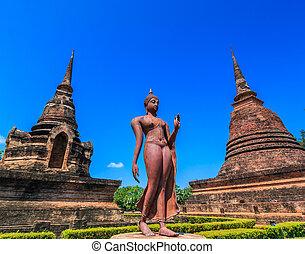 Sukhothai historical park, ancient Buddha Thailand, They are...