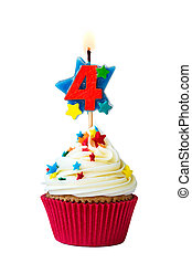 Number four cupcake - Cupcake with number four candle