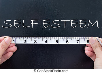 Self esteem - Tape measure aligned against the word self...