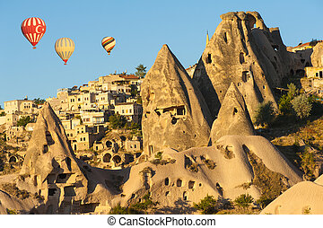 Hot Balloons over Uchisar - Hot air balloons flying over...