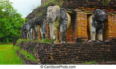 Elephant Sculptures at an Ancient Buddhist Temple - FullHD...